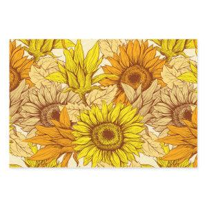 Wrapping Paper Flat Sheet of 3 Sunflowers