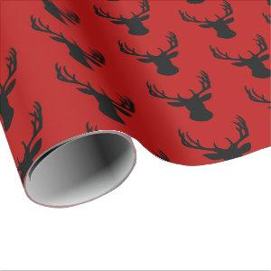 Wrapping Paper - Red and Black Stag Deer Head