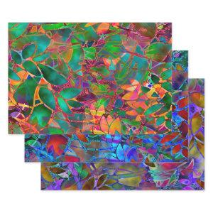 Wrapping Paper Sheet Set Floral Stained Glass