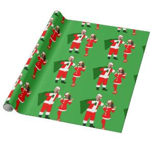 xmas joe biden santa kamala harris wrapping paper