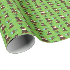 "Xmas Tricolor Corgi ""Mini Pattern"" Wrapping Paper"