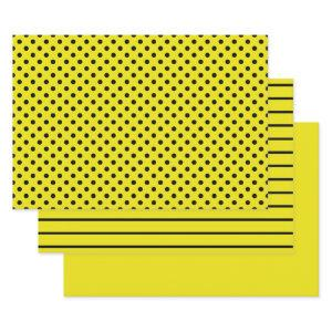 Yellow and Black Polka Dot Stripes Wrapping Paper Sheets