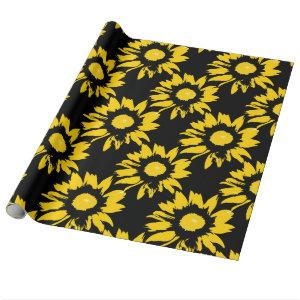 Yellow and Black Sunflower Pattern Wrapping Paper