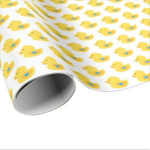 Yellow and Blue Rubber Ducky Wrapping Paper