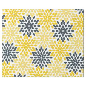 Yellow and Gray Charcoal Modern Floral Wrapping Paper