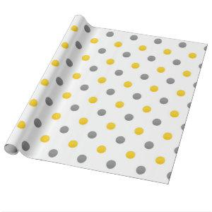 Yellow and Gray Polka Dots Wrapping Paper