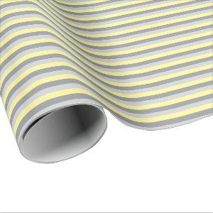 Yellow and Gray Stripes Wrapping Paper