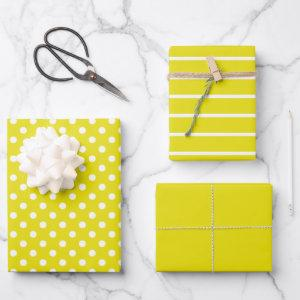 Yellow and White Polka Dot Stripes Wrapping Paper Sheets