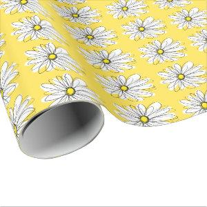 Yellow and White Whimsical Daisy with Custom Text Wrapping Paper