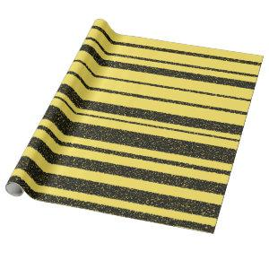 Yellow & Black Bee-Like Stripes Pattern Wrapping Paper