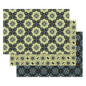 Yellow Black Teal Decorative Geometric Patterns Wrapping Paper Sheets