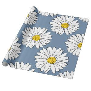 Yellow Blue White Daisy Pattern Wrapping Paper