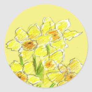 Yellow Daffodil Drawing Watercolor Spring Flowers Classic Round Sticker