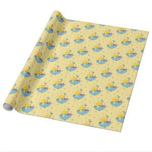 Yellow Duck, Umbrella, Baby Shower Wrapping Paper