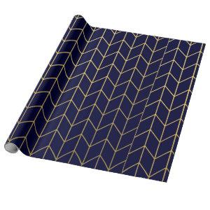 Yellow Gold Chevron Navy Blue Modern Chic Wrapping Paper