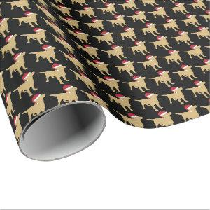 Yellow Labrador In Santa Hat Christmas Wrapping Paper