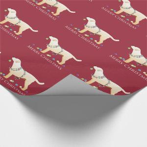 Yellow Labrador Retriever Merry Christmas Design Wrapping Paper