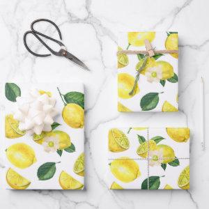 Yellow Lemons Watercolor Fruit Pattern Wrapping Paper Sheets