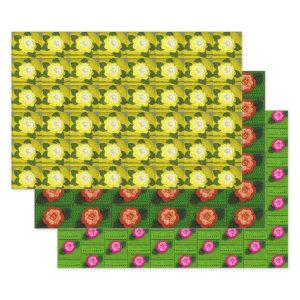 Yellow Orange Green Floral Designer Crochet Print Wrapping Paper Sheets