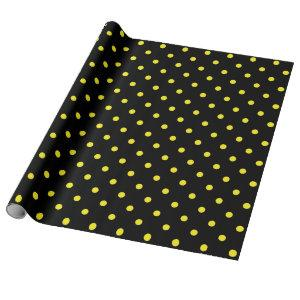 Yellow Polka Dot on Black Large Space Wrapping Paper