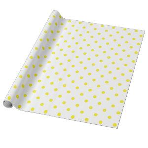 Yellow Polka Dot on White Large Space Wrapping Paper
