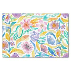 Yellow Purple Spring Watercolor Flowers Leaves Tissue Paper