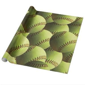 Yellow Softball Covered Wrapping Paper