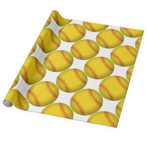 Yellow Softball Wrapping Paper