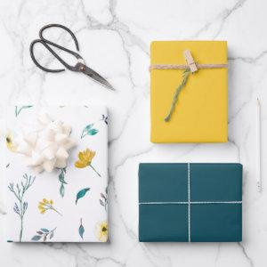 Yellow Turquoise Solid Watercolor Floral Pattern Wrapping Paper Sheets