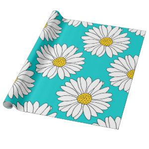 Yellow Turquoise White Daisy Pattern Wrapping Paper