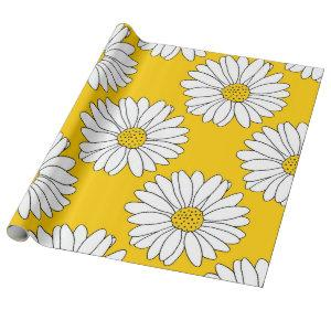 Yellow White Daisy Pattern 2 Wrapping Paper