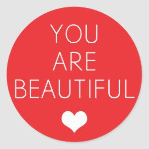 You are beautiful but (Red) Classic Round Sticker