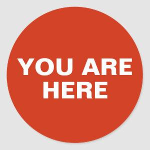 YOU ARE HERE Location Dot Classic Round Sticker