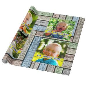 Your 4 Pictures, Photo Gift Wrapping Paper