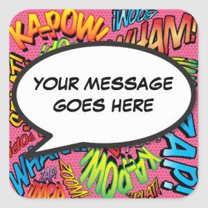 Your Message Speech Bubble Fun Retro Square Sticker