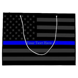 Your Text Personalized Thin Blue Line Grey US Flag Large Gift Bag