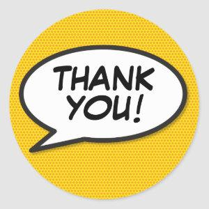 Your Thank You Message Speech Bubble Fun Comic Classic Round Sticker