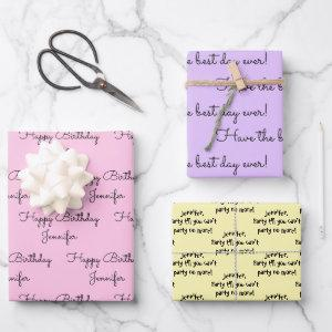 Your Words with Her Name Birthday Gift Wrapping Pa  Sheets