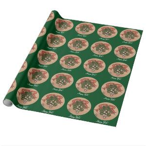 Yule Winter Solstice Mistletoe Retro Wrapping Paper