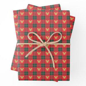 Yuletide Joy | Mickey Christmas Plaid Pattern Wrapping Paper Sheets