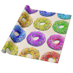 Yummy donuts pattern wrapping paper