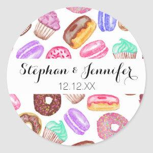 Yummy Hand Painted Watercolor Desserts Classic Round Sticker