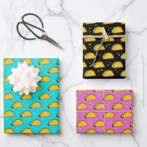 Yummy Taco Pattern Wrapping Paper Sheets