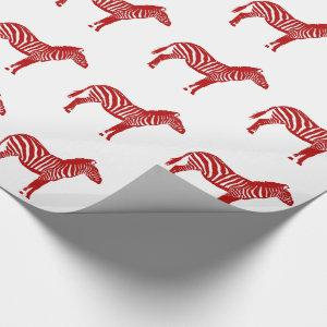 Zebras - Deep Red and White Wrapping Paper