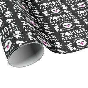 Zombie Apocalypse Personalised Black and White Wrapping Paper